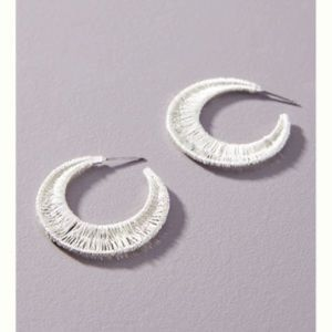 Anthropologie Silver Crescent Wired Hoop Earrings